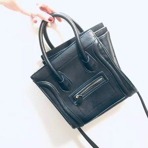 Black Faux Leather Crossbody Handbag